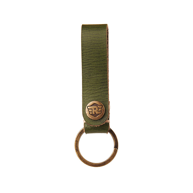 Belt Loop Leather Keychain Olive Green