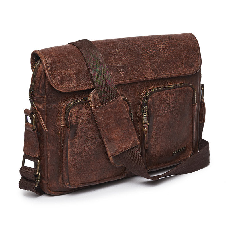 Leather Messenger Bag Brown