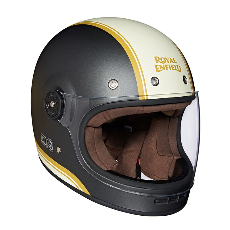 Drifter Helmet Classic Stripes Matt Grey White