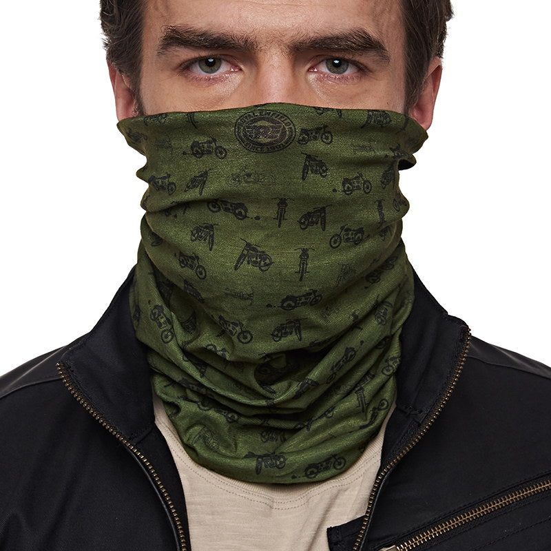Re Motorcycle Print Headgear Olive