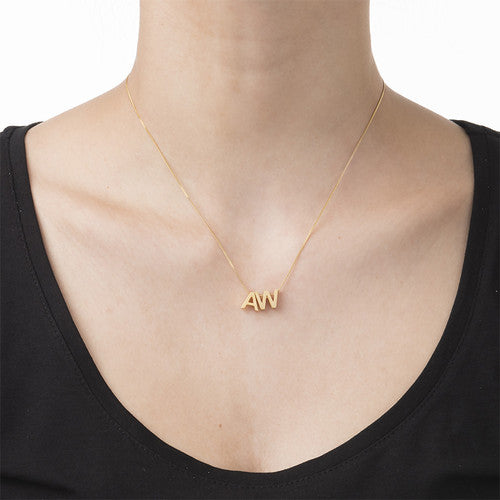 Floating Initials Necklace on model