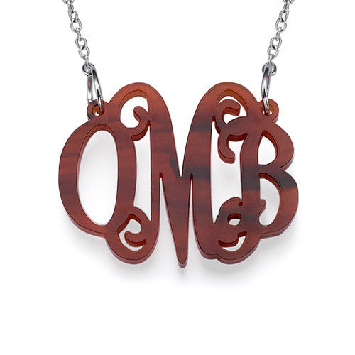 classic pop monogram necklace tortoise