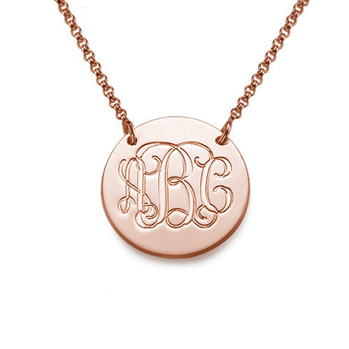 Engraved Disk Pendant rose gold