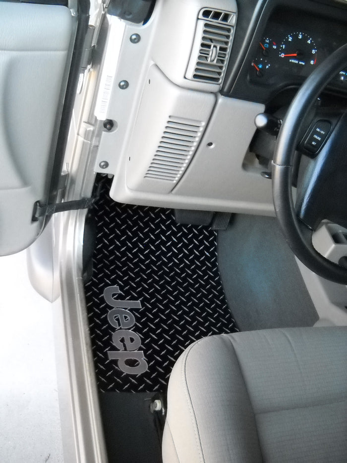 Jeep Wrangler 97-06 Diamond plate floor mats black powder coated Front set