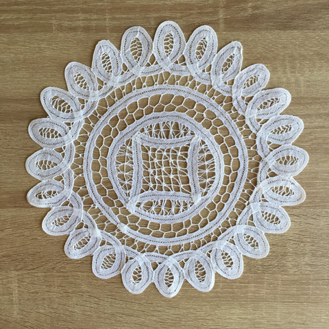 "Battenburg Lace Doilies Round White 10"" Inch"