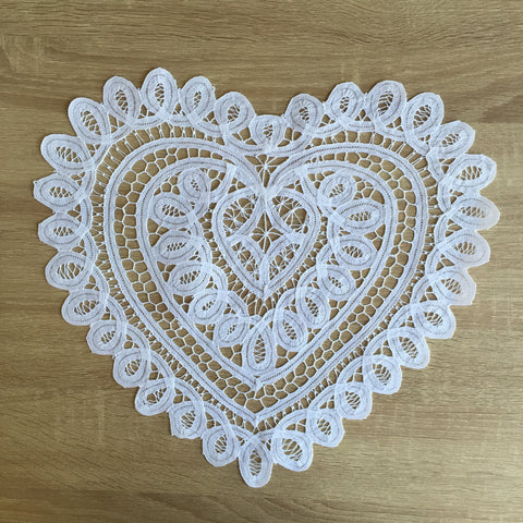 "Battenburg Lace Heart Shape Doilies White 12"" 14"" 16"" 18"" Inch"