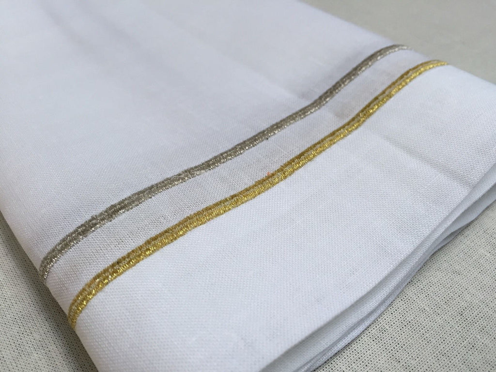 "Gold / Silver Embroidered Lunch Dinner Napkin 20"" Inch Set of 4"
