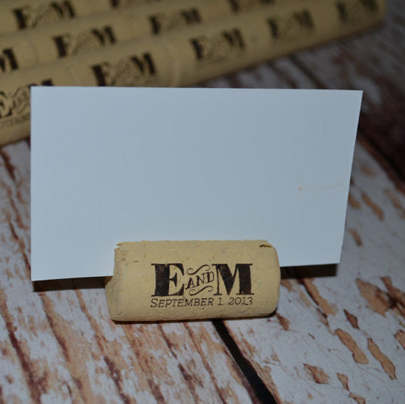 Cork Escort Card Holders Table Markers - Eat Drink & Be Married - Personalized Gallery - 1