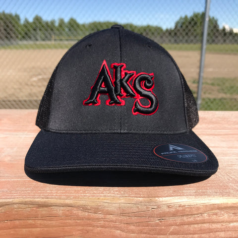AkS Original hat in Black & Black with Thin Red Line