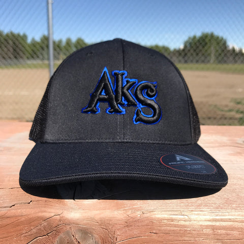 AkS Original hat in Black & Black with Thin Blue Line