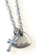 EJ9 - Personalized Custom Engraved Necklace, Heart & Cross