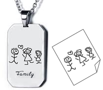 EJ102 - Personalized Children's Drawing Dog Tag Chain