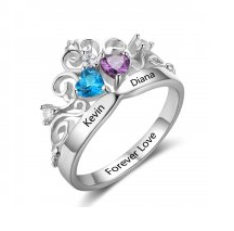 N781 - 925 Sterling Silver Crown Personalized Couples Names & Birthstones Ring