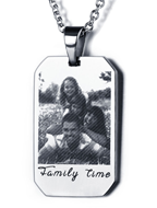 N289 - CNE101321 - Stainless Steel Men's Personalized Photo engraved Dog Tag Chain