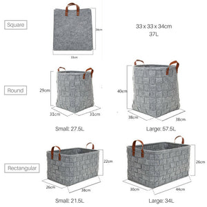 Woven Felt Laundry Basket with Leather Handles