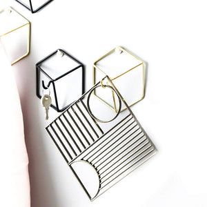 Geometric Wrought Iron Wall Hooks Decoration - Homlly