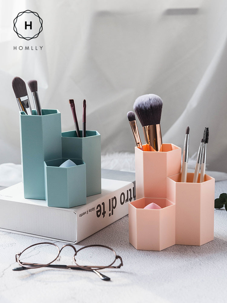 Homlly Hexagon Pen Makeup Container Holder