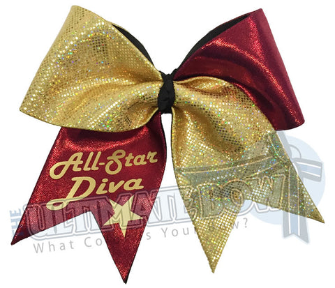 All-Star-Diva-Personalized-cheer-bow-glitter-custom-personal-team-bows-maroon-mystic-diva-gold-prima-donna