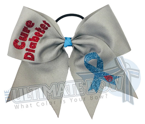cure diabetes - diabetes awareness cheer bow - I wear grey for diabetes - social awareness cheer bows