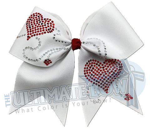 follow-your-heart-white-rhinestone-valentines day-cheer-bow | Rhinestone Heart Cheer Bow