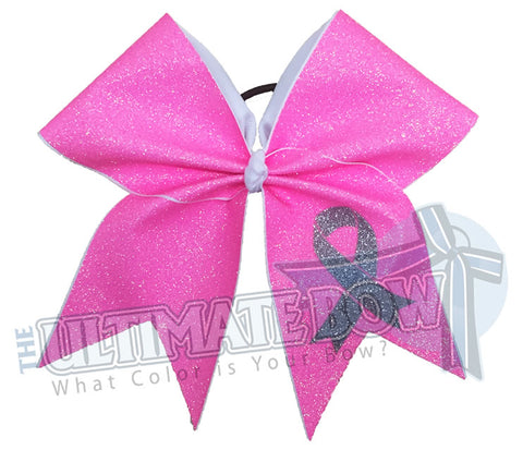 I Will Survive - Full Glitter - Breast Cancer Awareness Bow
