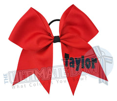 personalized cheer bow | my bow | black glitter red ribbon | softball | Sports hair bow