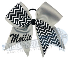 Superior-my-chevron-cheer-bow-grey-black-white-silver-glitter-personalized