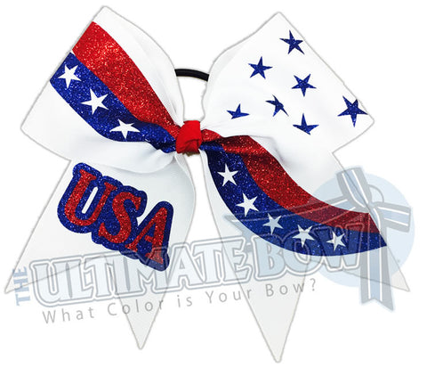 Patriotism - Red, White and Blue Cheer Bow | USA Cheer Bow