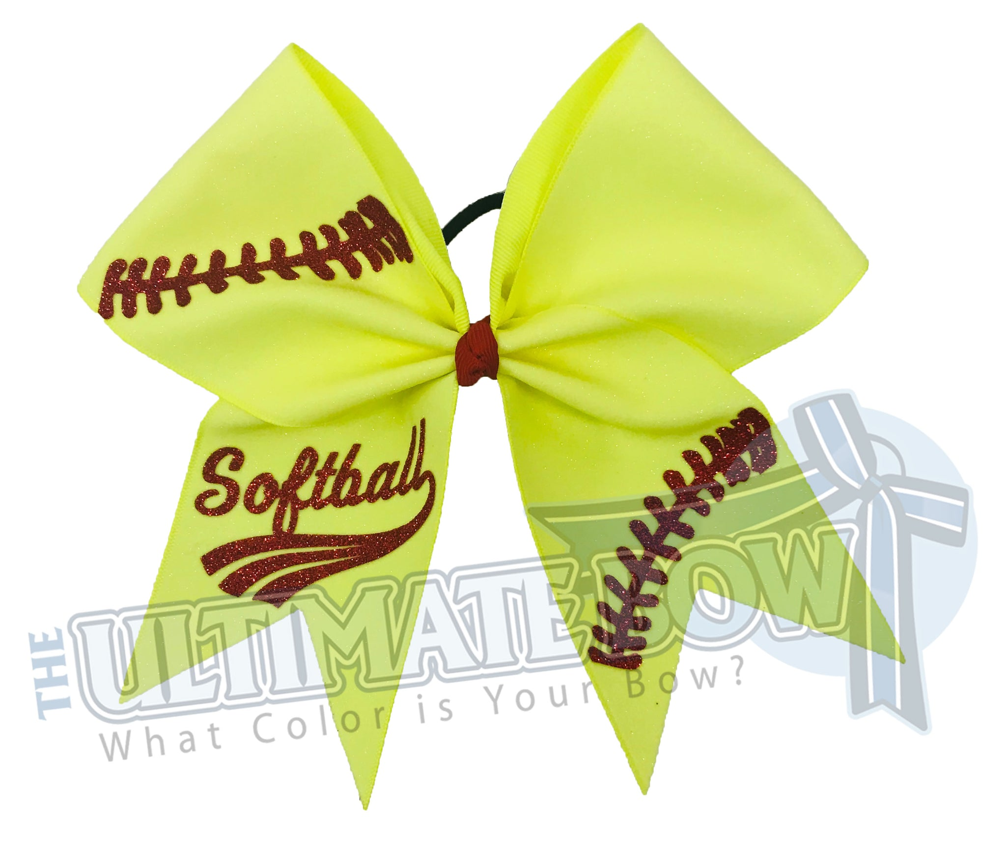 ultimate-softball-bow-neon-yellow-glitter-red-glitter-laces-hair-bow-laces-softball-bow