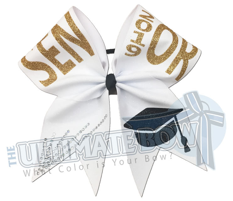 full-glitter rhinestone-senior-cheer-bow-class-of-2019-2020-celebrate-graduation-graduate Senior Hair Bow Graduation Cap