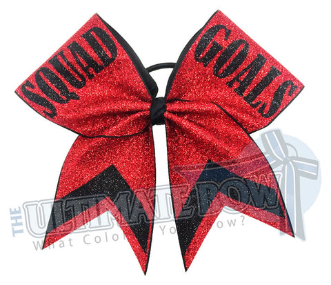 Squad Goals Full Glitter Cheer Bow