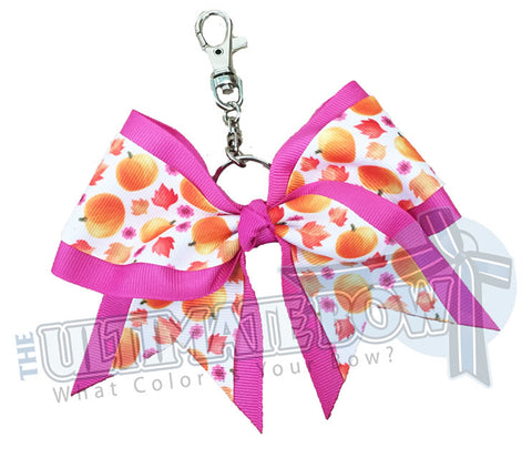 Sweet Pumpkin Key Chan Bow | Cheer Bows | Cheer Key Chain Bows | Halloween Bows | Pink Key Chain