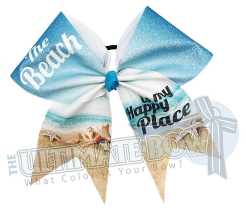 The Beach is My Happy Place Cheer Bow | Sublimated Glitter Bow