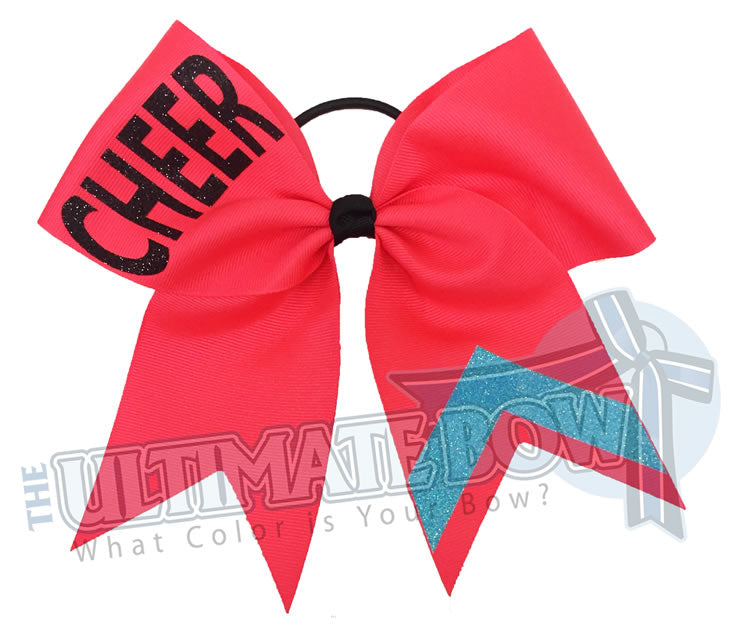 CHEER Bow | Football Games | Varsity Cheer | sideline-glitter-stripes-Neon Blue-cheer-bow-glitter-varsity-cheer-softball-school-recreational-cheer
