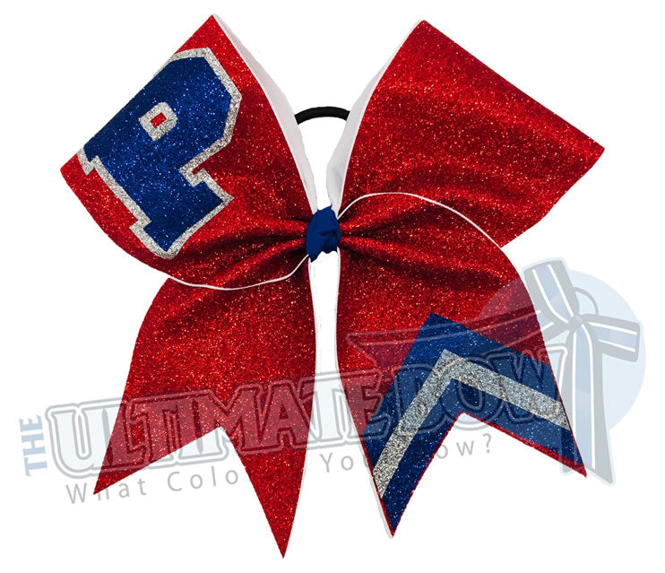 full-glitter-varsity letter - School Initial P - glitter Chevron-red-royal-silver-cheer-bow-glitter-varsity-cheer-softball-school-recreational-cheer