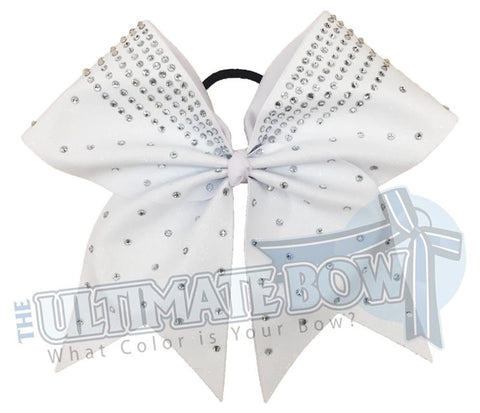 rhinestone glitter cheer bow - competitons chee bow - white glitter cheer bow - glitter and rhinestone cheer bow