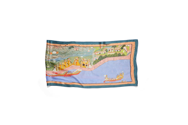 Silk scarf: Maharana Sangram Singh II receiving his sons in procession near Rang Sagar Lake c. 1730
