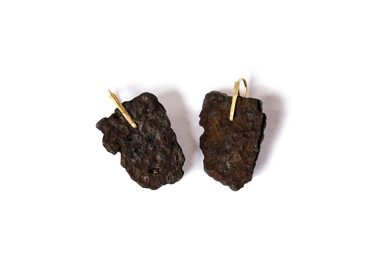 Earrings Iron, oxy silber, 18kt gold hooks