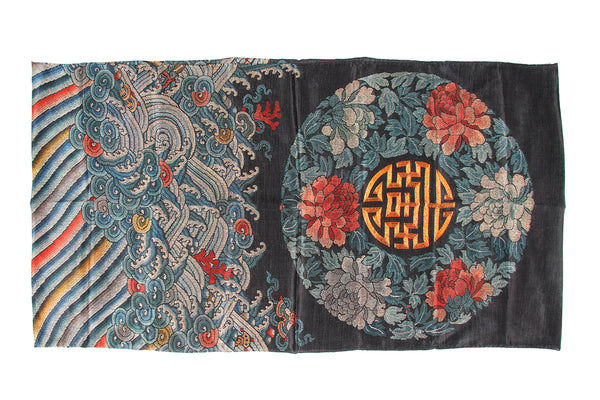 Scarf Rectangle Black Flower 50x190cm 100% Silk Crepe de Chine