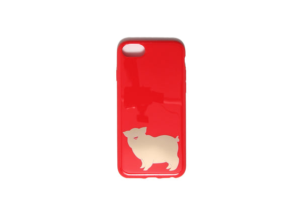 iPhone Cover Gold Pig Red