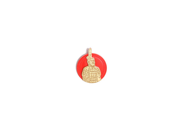 Brooch Terracotta Warrior Gold Red Resin
