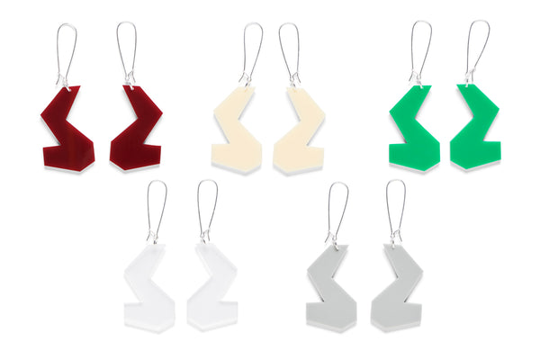 Earrings Tesselated ZigZag McCloud (After Jennifer McCloud) Assorted 6cm