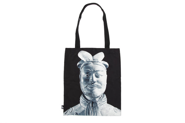 Tote Bag Terracotta Warriors Black and White Unlined