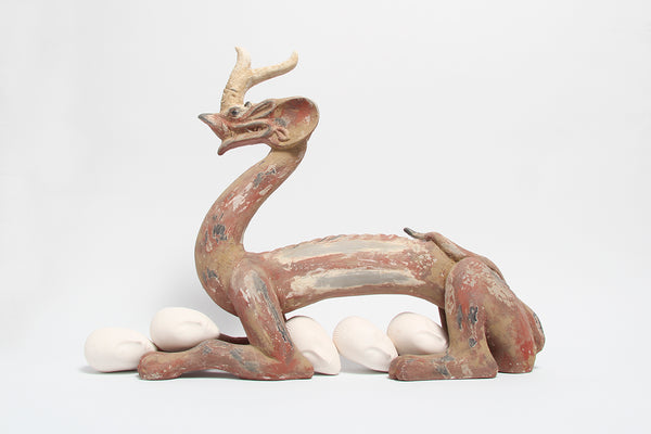 Sculpture Eternity Six Dynasties Painted Earthenware Dragon, Sleeping Muse