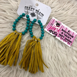 Turquoise Beaded & Mustard Fringe Earrings