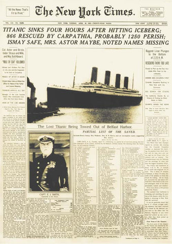 Titanic front page of New York Times