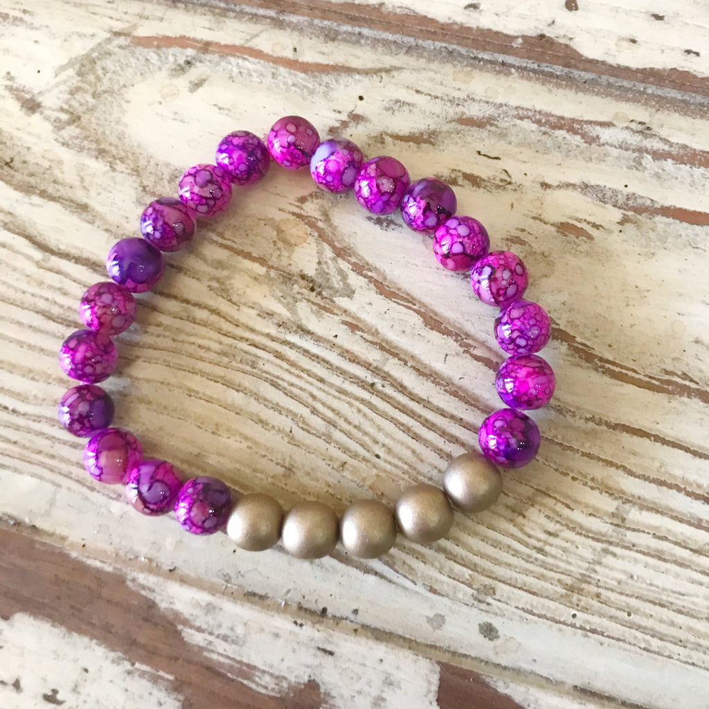 Purple and Gold Bracelet