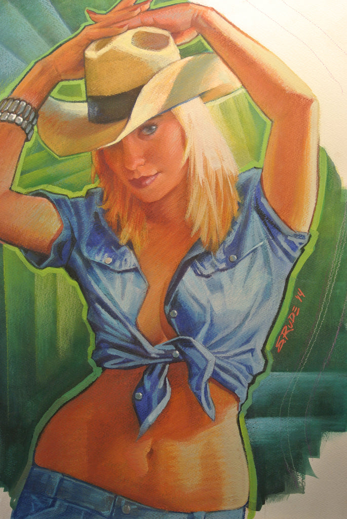 Cowgirl: Hands Up Watercolor