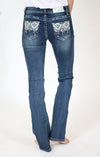Dark Embroidered Easy Bootcut Jeans | EB-2166