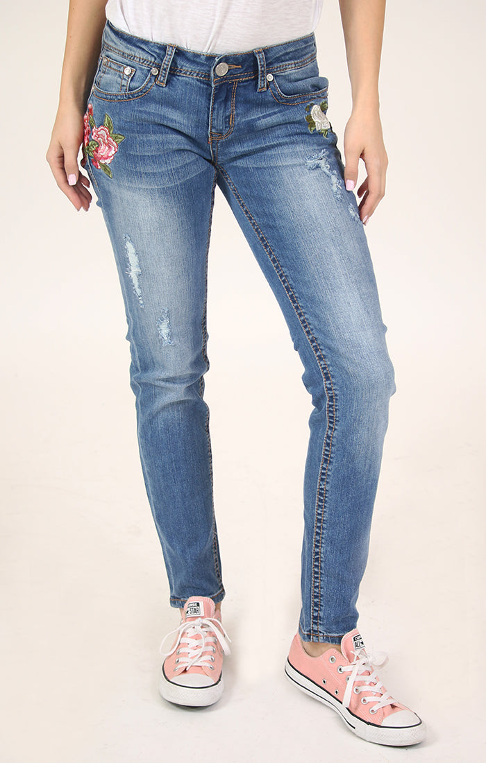 Floral Embroidered Distressed Skinny Jeans | JNW-2185
